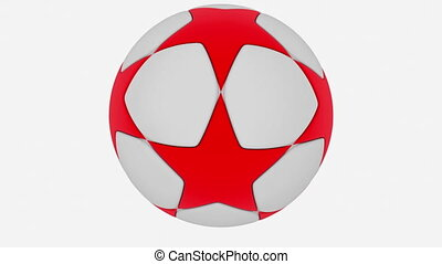 Soccer ball in white and red on white