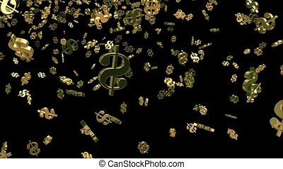 Falling USA dollar sign in gold color on black