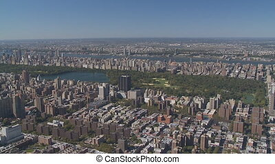 manhattan central park from heli - Aerial view manhattan and...
