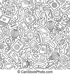Cartoon Traveling seamless pattern with lots of objects -...
