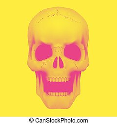 Skull in vintage duotone and halftone style - Human skull in...