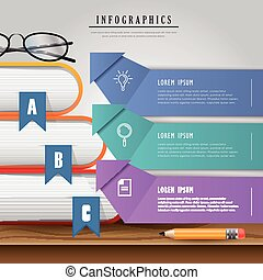 Education infographic design, textbooks with bookmark on...