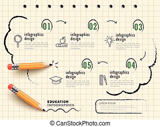 Education infographic design, notepaper with yellow pencil...