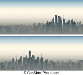 Wide banners of big city in haze. - Set of horizontal wide...