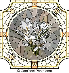 Illustration of flower crocus - Vector mosaic of brightly...