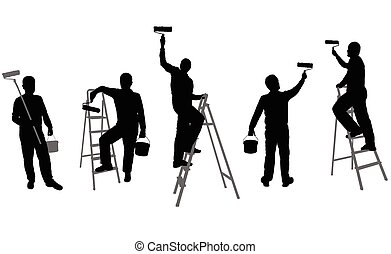 house painters silhouettes
