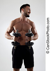 Cheerful man with weights