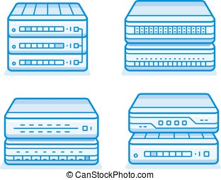 Network router icon set. Internet service provider...