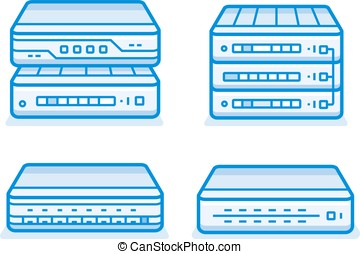 Network router icons - Network devices icon set. Internet...