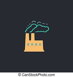 power plant computer symbol - power plant Color vector icon...