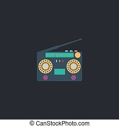 boombox computer symbol - boombox Color vector icon on dark...