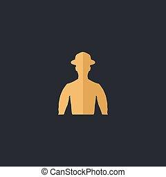 Cowboy computer symbol - Cowboy Color vector icon on dark...