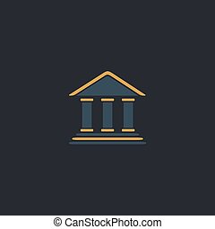 bank computer symbol - bank Color vector icon on dark...