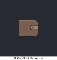 Wallet computer symbol - Wallet Color vector icon on dark...