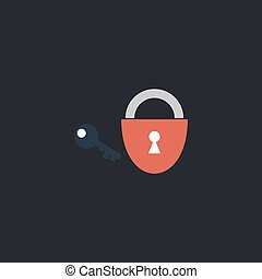 Padlock and key computer symbol - Padlock and key Color...