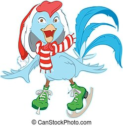 Christmas Santa Rooster symbol 2017 skates. Isolated on...