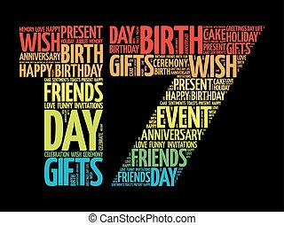 Happy 17th birthday word cloud collage concept