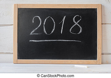 2018 New Year Concept blank blackboard