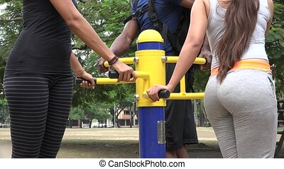 People Using Exercise Machine