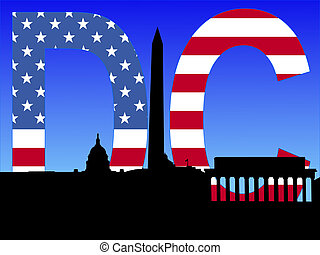 Washington DC skyline with American flag text