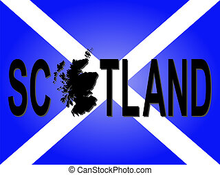 Scotland text with map on flag