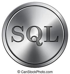 SQL icon. Round icon imitating metal. - SQL icon. Internet...