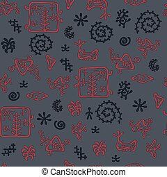 rock painting style pattern, dark cave colors, seamless texture for textile, background, wallpaper and wrapping paper