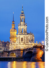 Dresden. The building of the Hofkirche at night. - Holy...