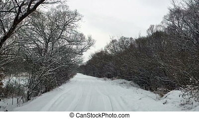 road in winter and snow snowstorm