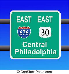 freeway to Philadelphia sign - freeway to central...