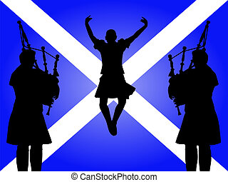 pipers and highland dancer jumping with Scottish flag...
