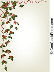 Christmas Background with berries - Holly Christmas...
