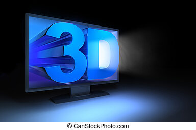 tv, escuro,  3D