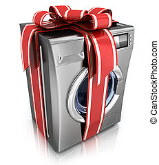 washer with ribbon - Modern washer on white background (done...