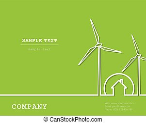 Creative vector with wind turbines, house. Renewable (regenerative, green) energy concept.