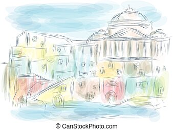 naples italy. abstract illustration of city on multicolor...