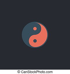 Ying-yang computer symbol - Ying-yang Color vector icon on...