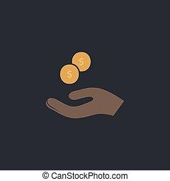 beggar computer symbol - beggar Color vector icon on dark...