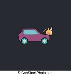 Car fired computer symbol - Car fired Color vector icon on...