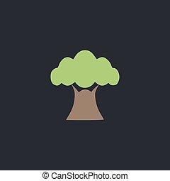 Baobab computer symbol - Baobab Color vector icon on dark...