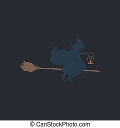 witch computer symbol - witch Color vector icon on dark...