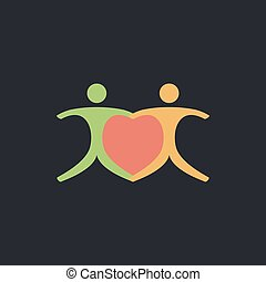 Pair computer symbol - Pair Color vector icon on dark...