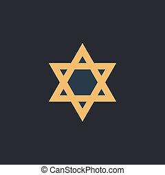 David Star computer symbol - David Star Color vector icon on...