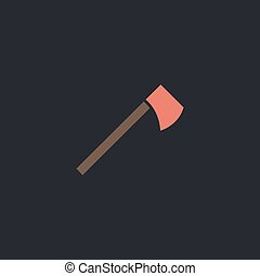 hatchet computer symbol - hatchet Color vector icon on dark...
