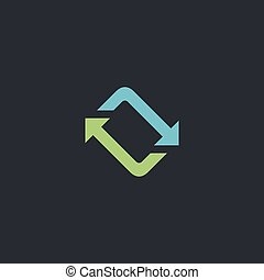 refresh computer symbol - refresh Color vector icon on dark...