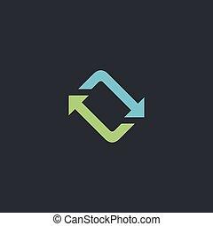 refresh computer symbol - refresh Color vector icon on dark...