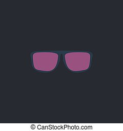 Glasses computer symbol - Glasses Color vector icon on dark...