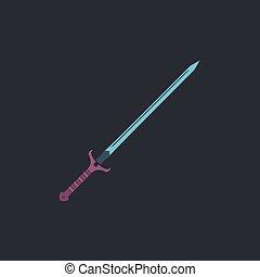 Sword computer symbol - Sword Color vector icon on dark...