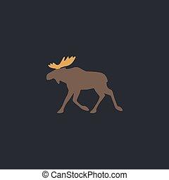 Moose computer symbol - Moose Color vector icon on dark...