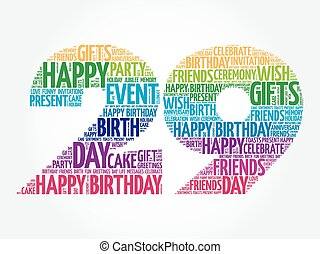 Happy 29th birthday word cloud collage concept
